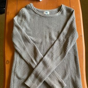 Grey Chevron Knit Sweater